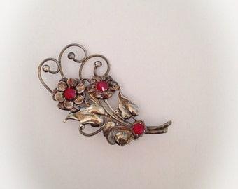 Vintage Sterling GF Flower Brooch with Red Rhinestones