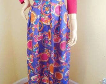 Vintage 60s Skirt, Psychodelic, Long,hippie, festival, rayon