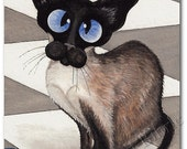 Siamese Cat Patiently Waiting for Dinner - Art Print by Bihrle ck196