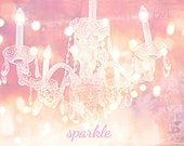 Paris Photography, Sparkling Pink Crystal Chandelier, Sparkle Crystal Chandelier, Dreamy Romantic Paris Chandelier, Baby Girl Nursery Decor
