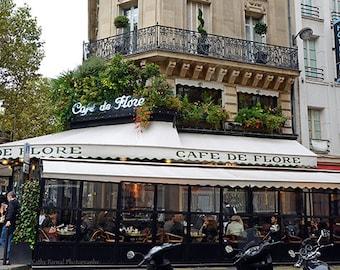 """Paris Photography, """"Cafe de Flore""""  Paris Cafe Bistro Prints, Paris Cafe Prints, Paris Street Photography, Paris Bistro, Paris Cafe Photos"""