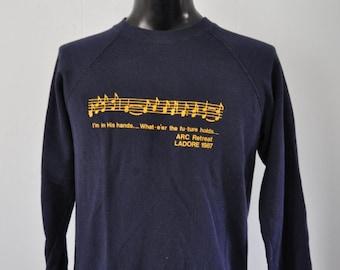 1987 Vintage Sweatshirt Soft and Thin  Music Church Bible Retreat Navy Blue MEDIUM
