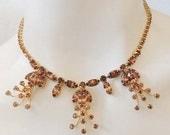 Vintage Necklace with Amber Crystals Rhinestones