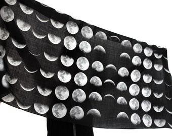 Moon Phases Wool Scarf