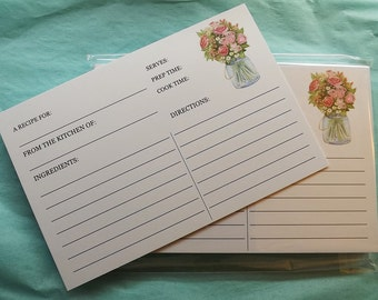 Housewarming GIft, Recipe Cards, Recipe Cards, Bridal Shower Recipe Card, Mom GIft, Kitchen Shower, Printed Recipe Cards - 4x6 Select Amount