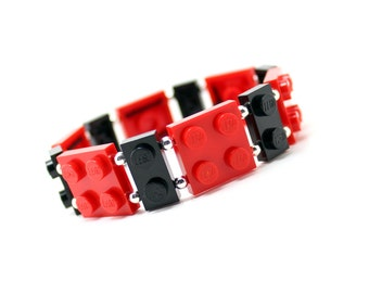 Geek Bracelet in Red and Black - made from New LEGO ® Pieces