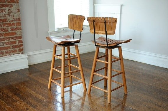 Sale Arthur Umanoff 2 Stools Wood Slat Metal Back Swivel