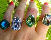 Bridesmaid Gift Swarovski Set of 4 Crystal Vintage Czech Glass Cocktail Rings Old Hollywood Set of 6 Custom Colors Sizes