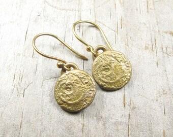 Spiral Earrings - Bronze Earrings - Round Earring - Metalwork Bronze Jewelry - Gift for Teens - Secret Treasure Earrings (EB-SP-B)