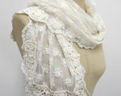 Wedding scarf Lace scarf Summer scarves  Catholic Lace Head Cover Lace shawl White sca Lace Scarf , Cream Color, Wedding scarf