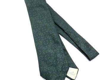 Patterned Green on Green Vintage Tie 1970s Lord Copley Mens Necktie - FREE Domestic Shipping