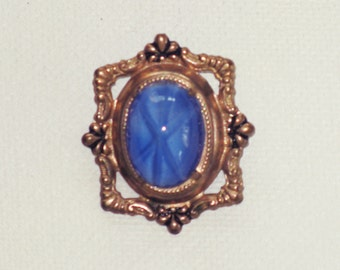 Antique Vintage Art Nouveau Blue Glass Star Sapphire Brooch Pin  (B-1-2)