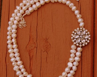 Beadwork Necklace, Pearl Necklace, Pearl Bridal Necklace, Bridal Jewelry