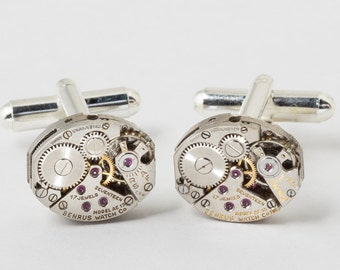 Steampunk Cufflinks, Vintage Benrus Watch Cuff Links Ideal Wedding Anniversary Gift, Grooms Formal Wear Silver Cuff Links, Mens Jewelry