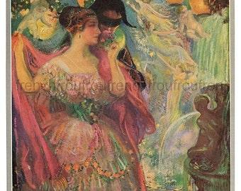 antique art deco illustration the fairy ball DIGITAL DOWNLOAD