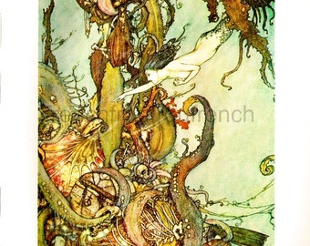 antique mermaid in the deep sea illustration DIGITAL DOWNLOAD