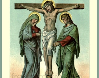 antique victorian catholic religion illustration stations of the cross station 12 DIGITAL DOWNLOAD