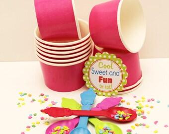 Ice Cream Cups, 10 ( 12 Oz. ) Pink Ice Cream Cups, Ice Cream Cups with Lids, Ice Cream Bowl, Ice Cream Spoons, Party, Ice Cream Supplies