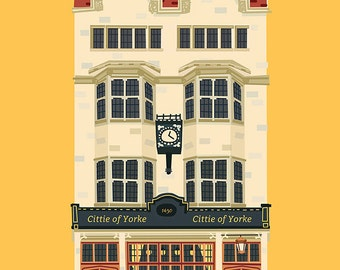 Wall decor art, London pub poster - The Cittie of Yorke - Holborn, London, Home decor, Gift, Digital print