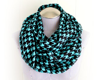 Teal and Black Houndstooth Flannel Infinity Scarf, Striking Aquamarine Blue Pixelated Pattern Winter Accessory