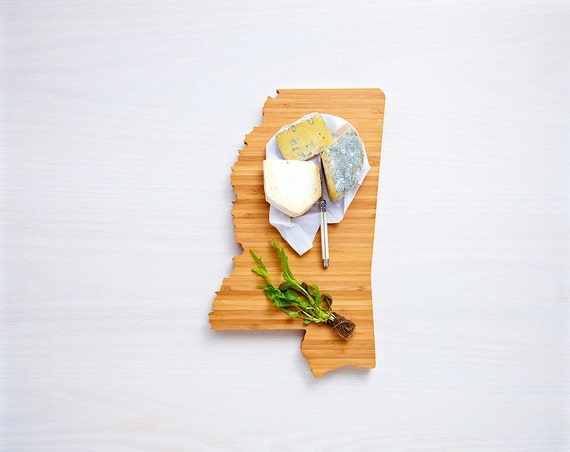 Mississippi Cutting Board 4th of july Gift Personalized engraved Mississippi cheese state shaped board