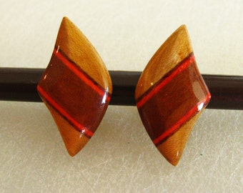 Wood Earrings, Orange and Brown Stained Wood Earrings, Clip On Earrings, Carved Wood Earrings, Brown Wood Orange Earrings, Brown Earrings