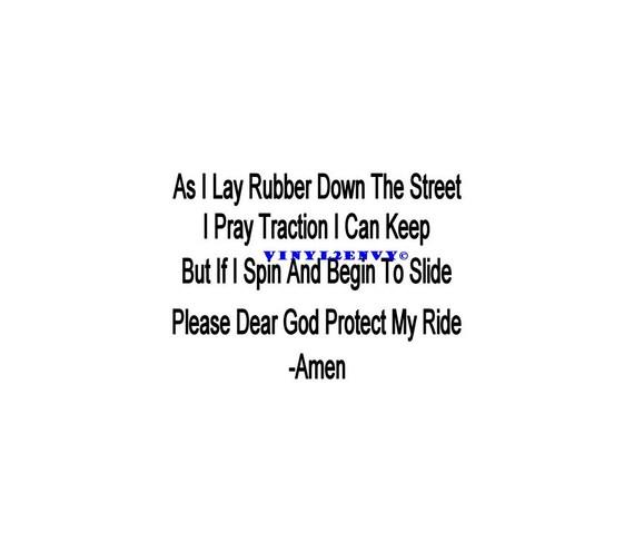 Car Racing Prayer Race Prayer Car Decal