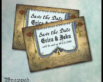 Renaissance Invitation / Medieval Gothic Tudor / Save the Date Wedding Announcement Ren Faire / Blue Banner Fringe Gold Tassels / 5x7 DIY
