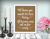 Burlap Wedding In Memory Of Sign Heaven Sign Printable 8x10 PDF Instant Download Rustic Shabby Chic Woodland If Heaven Was Not So Far Away