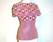 PIERRE CARDIN Vintage Pink Sequin Top Silk Embellished - AUTHENTIC -