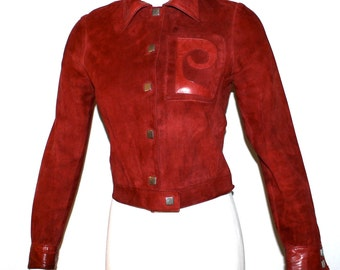 PIERRE CARDIN Vintage Suede Jacket Dark Red Leather Logo Skinny Fit Coat - AUTHENTIC -