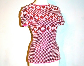 PIERRE CARDIN Vintage Pink Sequin Top Silk Embellished - AUTHENTIC -