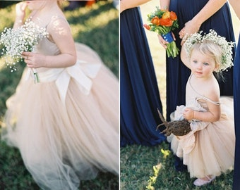 Flower Girl tutu in champagne and ivory tulle sashed with ivory or blush satin.