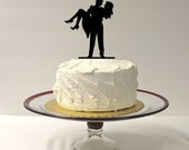 Cute Silhouette Wedding Cake Topper Bride and Groom Dancing Silhouette Wedding Cake Topper Mr and Mrs Cake Topper