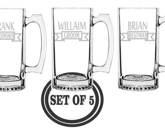 5 ETCHED BEER MUGS Favor Personalized Beer Mugs Groomsman Gifts Best Man Gift Wedding Party Gift Engraved Beer Mugs Etched Beer Mugs Etched
