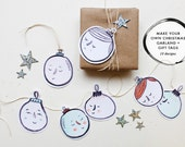 Christmas Garland, Gift Tag Bauble Character- Instant Printable Download (DIY, PDF)