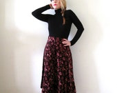 vintage 70s velvet floral midi skirt / A line / high waist