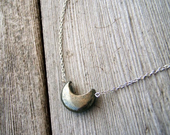 Moon Goddess Necklace . Pyrite Stone Pendant . Huntress' Jewel .
