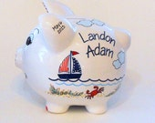 Personalized Piggy Bank with Navy Blue and Red Sailboats, Crabs, Fish, Beach and Ocean