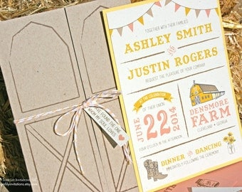 Barn Wedding Invitation Set Sample