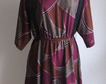 70s 80s vintage dolman sleeves abstract dress