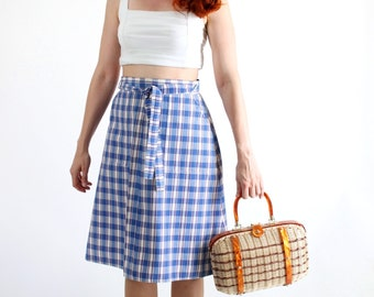 SALE - Vintage 1970s Blue White Check Wrap Spring Summer Skirt