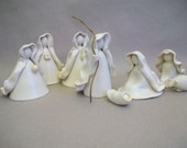 Nativity - 8 pc Set  plus manger - Porcelain - Translucent White - Ready to Ship - Handmade, Wheel Thrown