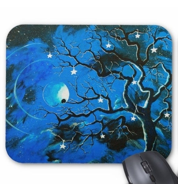 Mousepad Mouse Pad Fine Art Painting Blue Enchanted Evening Tree Night Moon Royal Blue Starry Night Eerie Stars Moon Birds Moonlight