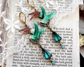Emerald Bird Elation, Vintage Korean Enamel Birds with Vintage Emerald Keyhole, Turquoise Swarovski Rhinestone Altered Assemblage Earrings