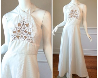 Vintage LILLI DIAMOND California White Maxi Dress in Waffle Textured Polyester Beach Wedding Dress Rich Hippie
