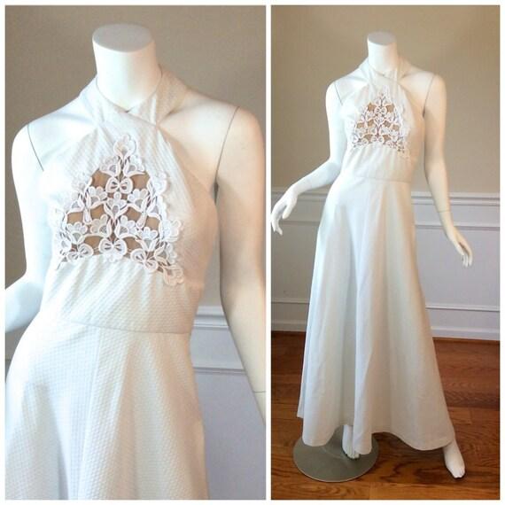 Vintage Wedding Dress Ca : Vintage lilli diamond california white maxi dress in waffle
