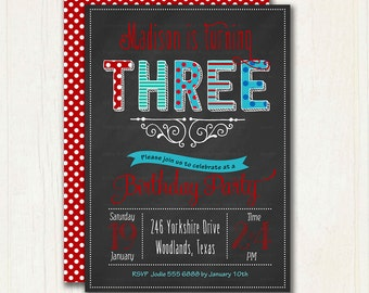 Third Birthday Chalkboard Invitation. Red and Blue Birthday Invitation. Printable. DYI. 1003a