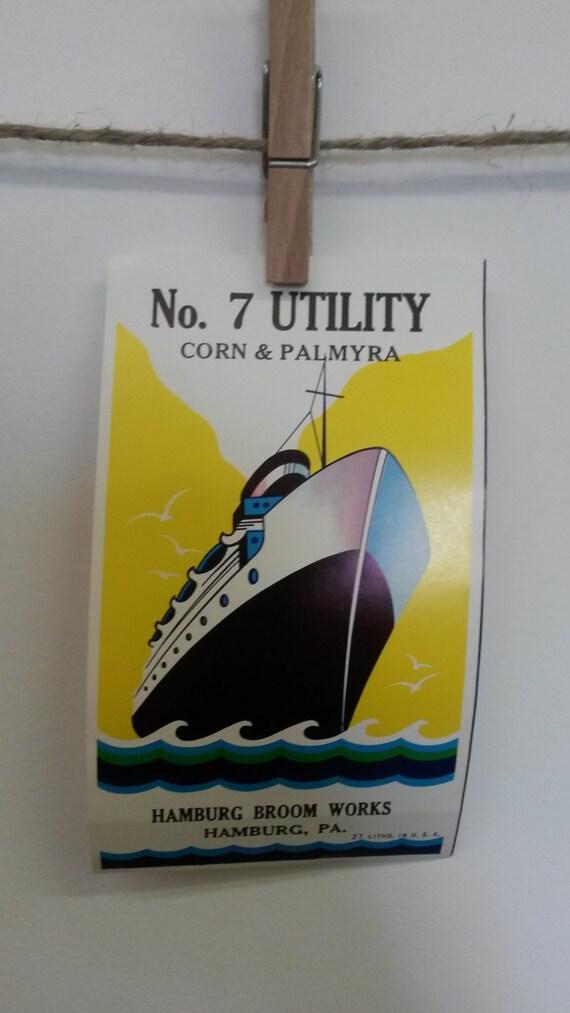 BULK DISCOUNT: 10 Steamship Labels - Hamburg Broom Works - Hamburg, PA. Corn & Palmyra