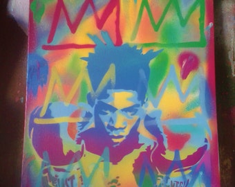 Jean Michel Basquait paintings stencil art spray paint art canvas pop art boxing street art New York Andy Warhol bright afro american art
